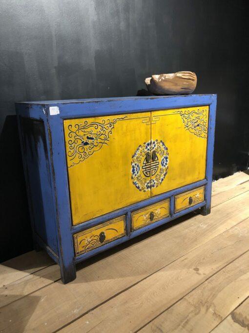 Kommode Blau-Gelb mit Malereiverzierung