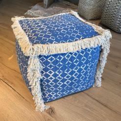 Pouf Blau Fransen