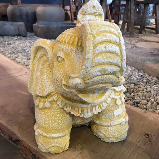 Figur Elefant Weiß Gelb