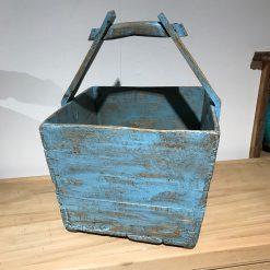 Holzkorb Hellblau mit Griff
