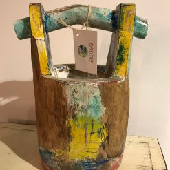 Holztopf Bunt mit Griff