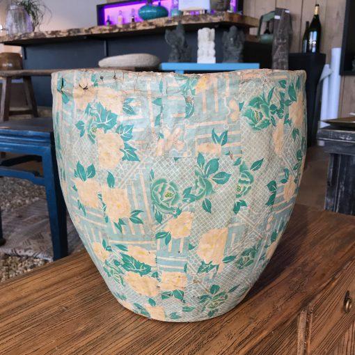 Papiertopf Grün mit Blumen (M)